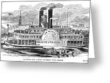 Mail Steamboat, 1854. /nthe Louisville Mail Company Steamboat Jacob Strader. Wood Engraving, 1854 Greeting Card