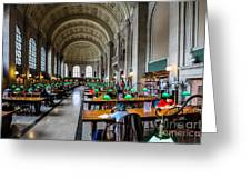 Main Reading Room Of Boston Public Library Greeting Card