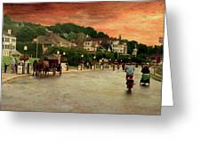 Main Street Mackinac Island Michigan Panorama Textured Greeting Card