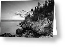 Maine Acadia Bass Harbor Lighthouse In Black And White Greeting Card by Ranjay Mitra
