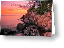 Maine Acadia Bass Harbor Lighthouse Sunset Greeting Card by Ranjay Mitra
