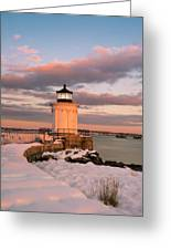 Maine Bug Light Lighthouse Snow At Sunset Greeting Card