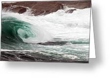 Maine Coast Storm Waves 1 Of 3 Greeting Card