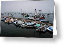 Maine Falmouth Boat Landing On Misty Morning Panorama Greeting Card