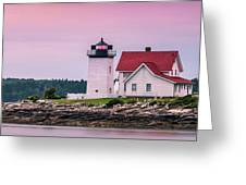 Maine Hendricks Head Lighthouse In Southport At Sunset Greeting Card