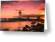 Maine Lighthouse Marshall Point At Sunset Greeting Card by Ranjay Mitra