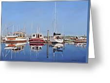 Maine Marina Evening Greeting Card