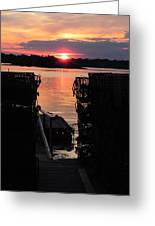 Maine Sunset And Traps Greeting Card