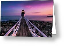 Maine Sunset At Marshall Point Lighthouse Greeting Card