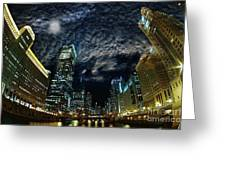 Majestic Chicago - Windy City Riverfront At Night Greeting Card