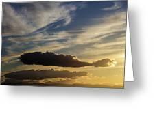 Majestic Vivid Sunset  Over Dark Mountains Greeting Card
