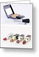 Make Up Set And Lipsticks Greeting Card