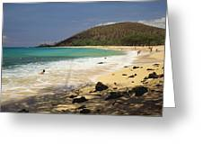 Makena Beach Panorama Greeting Card