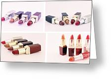 Makeup Set Of Lipsticks Isolated Greeting Card