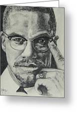 Malcolm X Greeting Card by Stephen Sookoo