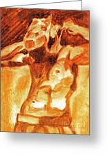 Male Boxer Greeting Card by Kim Wilcox