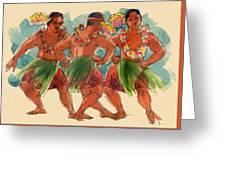 Male Dancers Of Lifuka, Tonga Greeting Card
