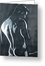 Male Nude Black And Grey Greeting Card