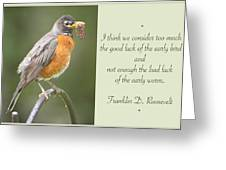 Male Robin With Worms In Bill Animal Behavior Greeting Card