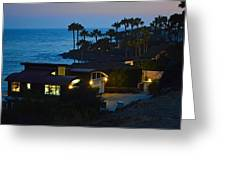 Malibu Beach House - Evening Greeting Card