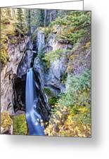 Maligne Canyon Waterfall Greeting Card