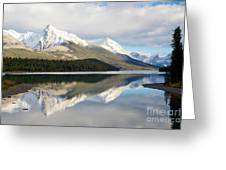 Malingne Lake Reflection, Jasper National Park  Greeting Card