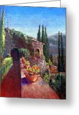 Mallorcan Monastery Greeting Card by Shirley Leswick