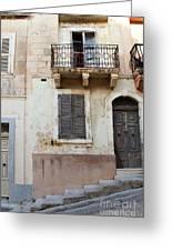 Maltese House On A Steep Street Greeting Card