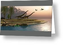 Mamenchisaurus Dinosaur Morning Greeting Card