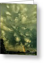 Mammatus Clouds And Double Rainbow Greeting Card