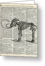 Mammoth Elephant Bones Over A Antique Dictionary Book Page Greeting Card