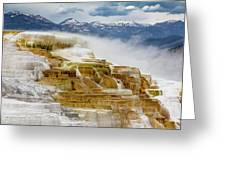 Mammoth Hot Springs In Yellowstone National Park, Wyoming. Greeting Card