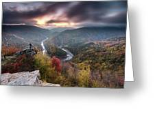 Man Above A River Meander Greeting Card