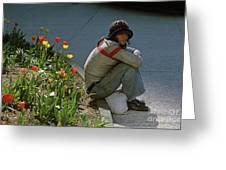 Man Alone Sitting On Curb Greeting Card