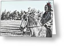 Man And His Horse Greeting Card