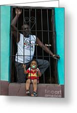 Man And Son In The Window Greeting Card