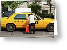 Man Asks For Information A Taxi Driver In Manhattan. Greeting Card