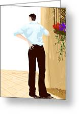 Man At The End Of The Corridor Greeting Card