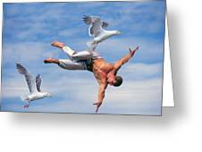 Man Being Carried By Bird Greeting Card