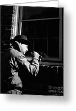 Man Breaking Into Building, C.1950s Greeting Card