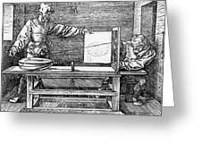 Man Drawing A Lute 1523 Greeting Card