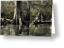 Man Fishing In Cypress Swamp Greeting Card
