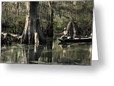 Man Fishing In Cypress Swamp Greeting Card