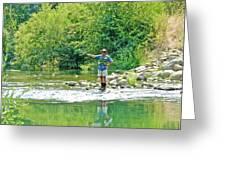 Man Fly Fishing In Canyon Creek Near Winters-california Greeting Card