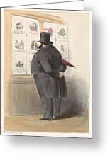 Man For A Showcase With Prints, Anonymous, 1810 - C. 1900 Greeting Card