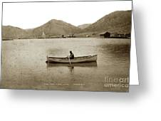 Man In A Row Boat Named Lizzie On Palmer Lake On The Colorado Di Greeting Card