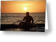 Man In Canoe Greeting Card
