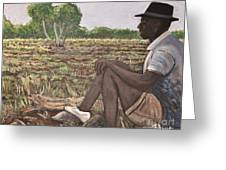 Man In Field Burkina Faso Series Greeting Card
