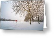 Man In Red Taking Picture Of Snowy Field And Trees Greeting Card