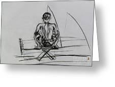Man In The Fishing Game Greeting Card